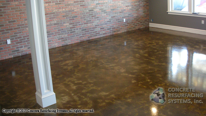 To Accomplish The Desired Look We Used A Diamond Grinder Prep Old Concrete Floor Followed By Dye Stain Lication In Color
