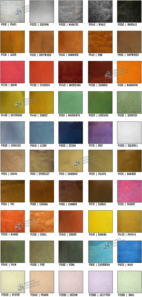 Epoxy Floor Coating Color Charts Concrete Resurfacing Systems
