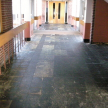 School floor vct tile removal
