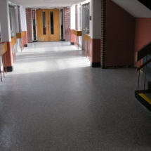 School floor, epoxy color flake