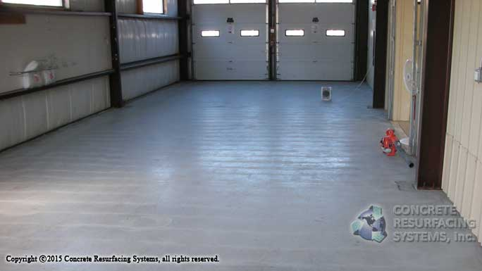 Commercial two bay garage epoxy floor concrete for Two bay garage