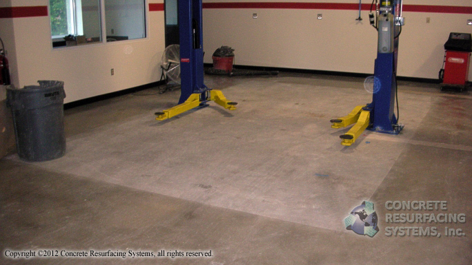 Automotive service bay concrete resurfacing systems for Mechanic shop flooring
