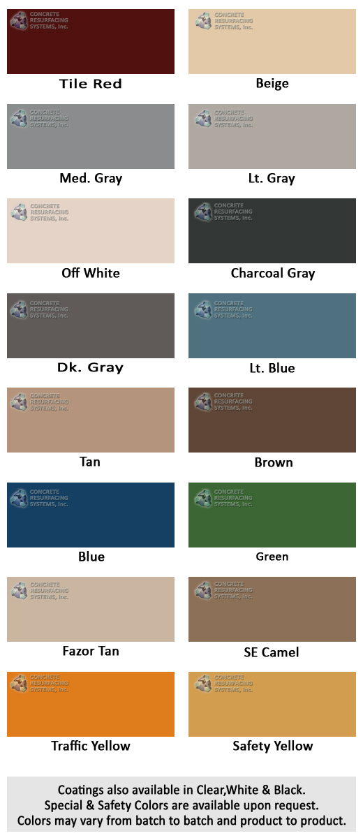 Epoxy Color Chart